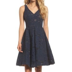 Maggy London Navy Blue Scroll Mesh Fit Flare Dress